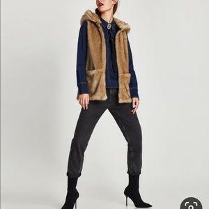 Zara TRF outerwear faux fur hood vest size s-m